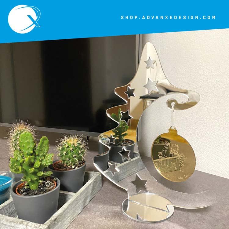 Alberello di natale in plexiglass specchiato oro e argento