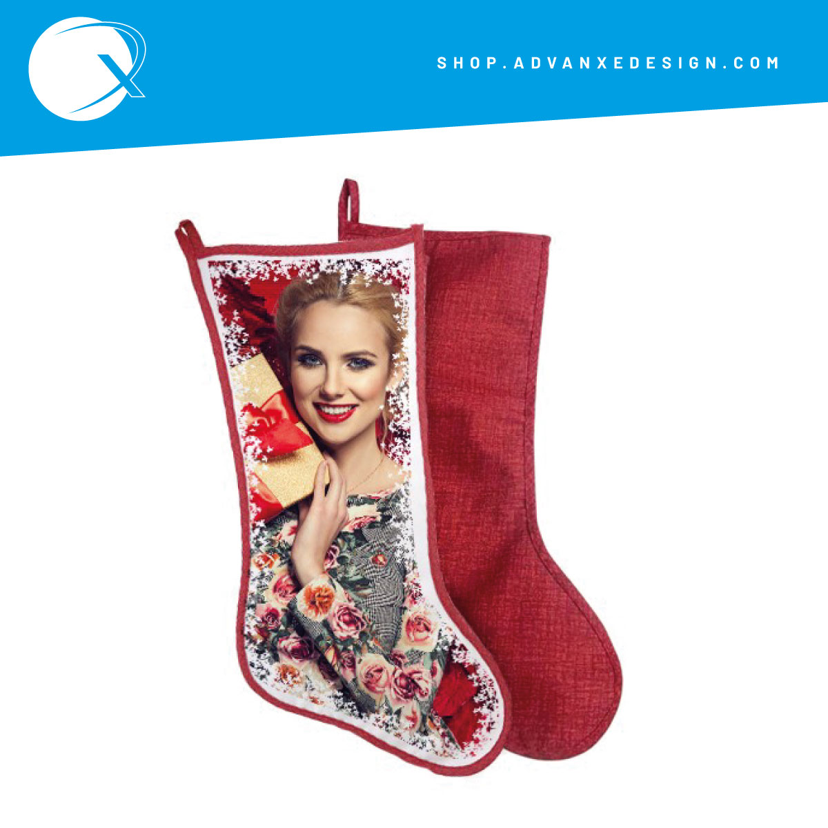 Calza Befana personalizzata color rosso