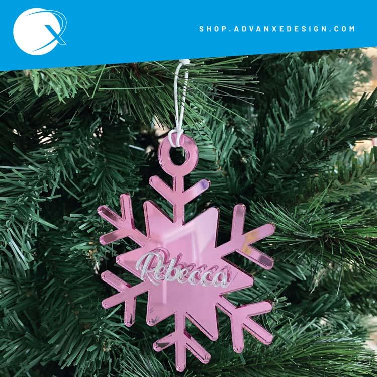 Pallina in plexiglass Fiocco di neve - rosa