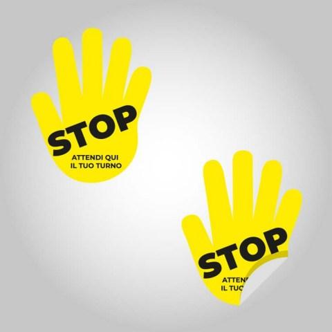 Adesivo calpestabile STOP mano gialla