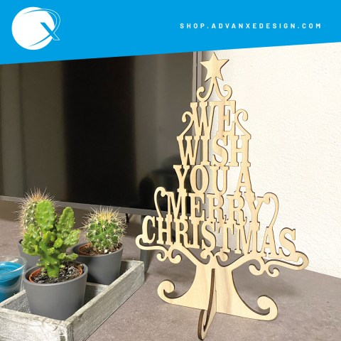 Mini albero di natale we wish you a merry christmas